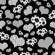 Stock Vector: Romantic seamless pattern with hearts