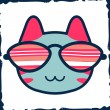 Cute kitty head in glasses — Stock Vector
