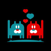 романтический иллюстрации двух милой кошечки в любви — Cтоковый вектор