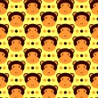 Seamless pattern with cute monkeys - Stock Vector
