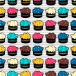 Seamless pattern with colorful cakes - Imagens vectoriais em stock