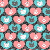 Romantic seamless pattern with hearts and kittens — Stock Vector