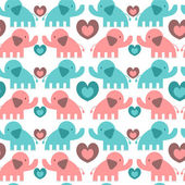 Seamless pattern with cute elephants — Stock Vector