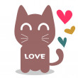 Cute cat in love romantic illustration — Stock Vector