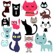 Stock Vector: Set of various cute cats