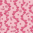 Romantic pink seamless pattern with hearts — Stock Vector