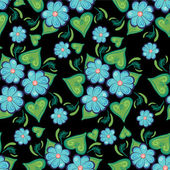 Seamless pattern with beautiful blue flowers — Stock Vector