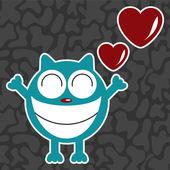 Funny cat in love, valentine illustration — Stock Vector