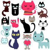Set of various cute cats — Stock Vector