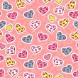 Romantic seamless pattern with cute hearts - Stock Vector