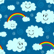 Stock Vector: Cute seamless pattern with clouds and rainbows