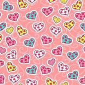 Romantische nahtlose muster mit niedlichen herzen — Stockvektor