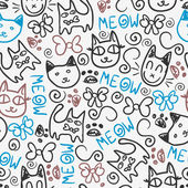 Cute seamless pattern with kitty doodles — Stock Vector