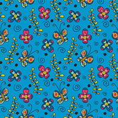 Bright childish seamless pattern with butterflies and flowers — Stock Vector