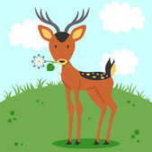 Cute fawn holding a flower — Stock Vector