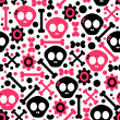 Seamless pattern with funny skulls — Stockvectorbeeld