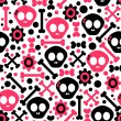 Stock Vector: Seamless pattern with funny skulls