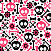 Seamless pattern with funny skulls — Stock Vector