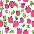 Seamless pattern with cute tulips - Stock Vector