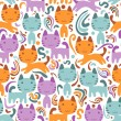 Seamless pattern with cute little kittens - Векторная иллюстрация