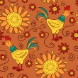 Cute seamless pattern with cocks and flowers - Stock Vector