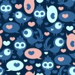 Seamless pattern with funny birds and hearts — Stock Vector