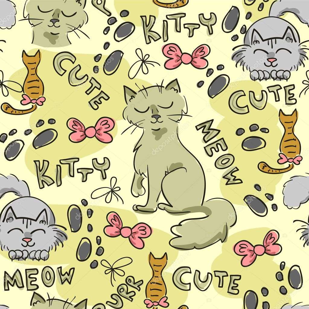 Seamless pattern with cute cats — Stock Vector © littlepaw ...