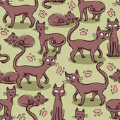Seamless pattern with cute cats — Cтоковый вектор