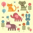 Set of cute funny animals — Stock Vector