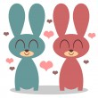 Stock Vector: Two cute bunnies in love