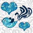 Romantic illustration of blue bird - Imagens vectoriais em stock