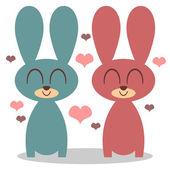 Two cute bunnies in love — Stok Vektör