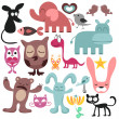 Stock Vector: Random set of various funny animals
