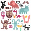 Random set of various funny animals - Stock Vector