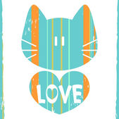 Cat with a heart romantic illustration — Stock Vector