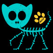 Illustration of a funny cat skeleton — Stock Vector