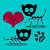 Two cute cat skeletons in love — Stock Vector
