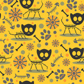 Seamless pattern with cute cat skeletons — Stock Vector