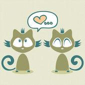 Romantische illustratie met twee kittens — Stockvector