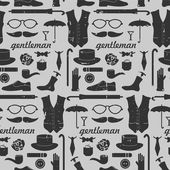 Seamless pattern with various elements for gentlemen — Stock Vector