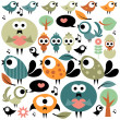 Set of various cute birds — Stock Vector