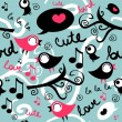 Royalty-Free Stock Vector Image: Seamless pattern with cute singing birds
