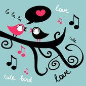 Две милые птицы на дереве в любви — Cтоковый вектор