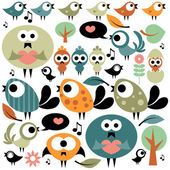 Set of various cute birds — Stock Vector