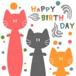 Birthday card with funny cats — Stok Vektör