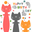 Birthday card with funny cats — 图库矢量图片