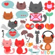 Various cute kittens collection - Imagen vectorial