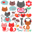 Various cute kittens collection - Stock Vector