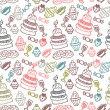 Stock Vector: Sweet food hand drawn seamless pattern