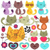 Set of various cute kittens — Stock Vector